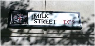 Selling milk on Milk Street