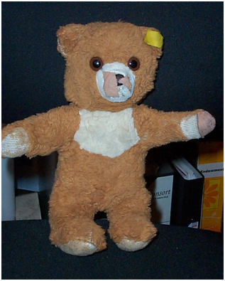 "Finally, my son's Steiff teddy ""Ted"", much loved and 16 years old."