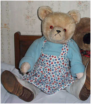 "My sister's 55 year old teddy called ""Petzi"" dressed in our old baby clothes."